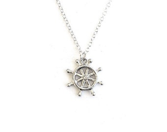 Helm Wheel Necklace-  Solid Sterling Silver or silver tone charm - Pirate Ship- Boat Helm Charm Necklace- 925 Sterling or silver tone Chain