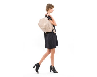 Handmade Everyday Leather Satchel, Beige Leather Backpack for Women, Laptop or iPad Fashionable Carrying Case, Stylish Handbag Briefcase