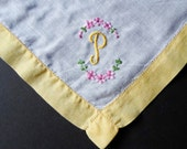Monogrammed Handkerchief, Letter P, Embroidered Hankie, Handkerchiefs, Art Deco, White, P Monogram, Ladies Handkerchief, All Vintage Hankies