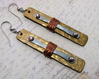 Hammered Brass Earrings, Wire Earrings, Brass Earrings, Copper Earrings, Metalwork Earrings, Dangle Earrings, Statement Earrings, Everyday