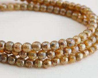 Champagne opal beige Picasso finish Czech Druk glass round beads 4mm ND4-11