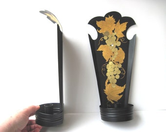 Candle  sconce rustic French country black metal gold grapes tole painted pair vintage cottage winery