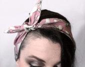 Pink Dinosaur Bones punk vintage-style, pin-up, head wrap bandana