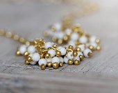 White Turquoise Bracelet - Magnesite Gemstone Bracelet - White and Gold Bracelet - Handmade Gemstone Cluster Bracelet - Dainty Bracelet