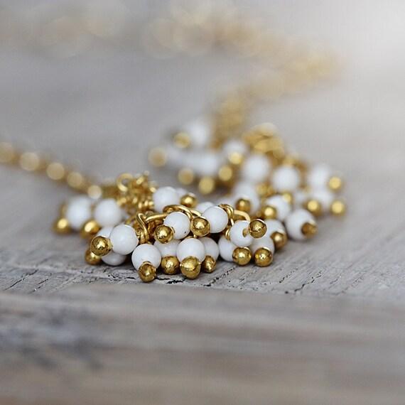 White Magnesite Bracelet - White and Gold Bracelet