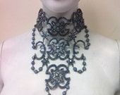 Victorian Style choker Necklace made with Sky Blue Opal Swarovski Crystals  and Plated  on Silver