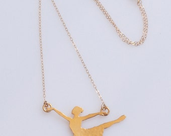 Gold Ballerina Necklace , Ballet Dancer Silhouette Charm , Dancer Necklace ,  Dance Lover Gift , Ballerina Jewelry , Ballet Pendant