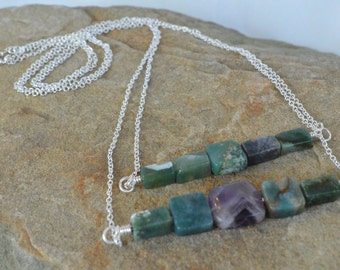Long Double Chain Gemstone Necklace - Green and Purple Fluorite Double Beaded Bar Sterling Silver Two Chain Necklace