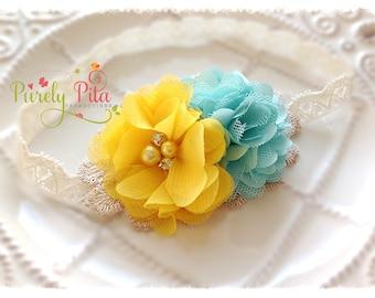 Happy Sunshine - Yellow and mint Headband. Baby / Newborn Headband, Infant Headband. Chiffon and Lace Headband. Photography Prop.