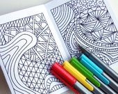 Black Friday Etsy, Mini Zine, Instant Download, Printable Zentangle Inspired Coloring Book, Intricate Zendoodle Coloring Patterns