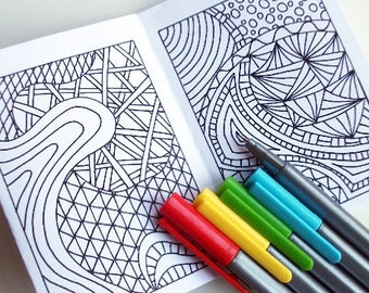 Printable Coloring Book Kids Activity Book Zentangle