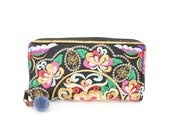 Hmong Wallet Hand Embroidered Purse Pom Pom Pull Zipper Thailand (BG800W-CF)