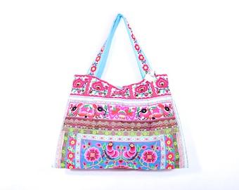 Pastel Shoulder Bag Embroidered Tribal Cotton Fabric (BG121F-BW)