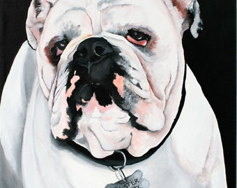 Dog custom portrait, bulldog portrait hand painted on a 8x12 canvas, pet painting