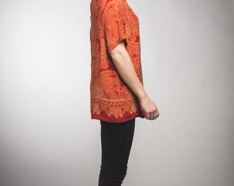 Vintage 100% silk blouse / womens / red-orange / one size fits all