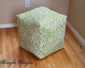 Zebra Green Pouf Ottoman cover, Home Essentials Decor Print Fabric, floor pouf, Square Pouf, Childrens pouf, pouf, nursery pouf, *Cover Only