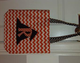 Monogrammed Halloween Trick or Treat Bag - Orange Chevron with Black Polka Dot