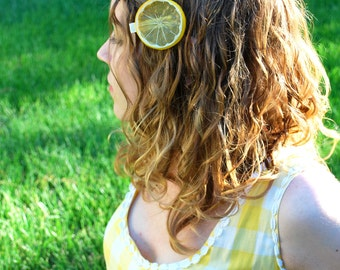 Lemon Slice Hair Clip Yellow Plastic Fruit