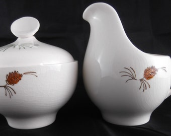 Vintage Creamer and Sugar Bowl U.S.A Pottery Creamer and Sugar Serving Set with Pine Cone Design
