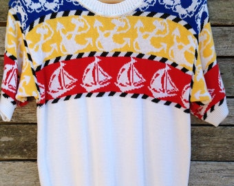"""1980's 'Leroy Knitting"""" White Red Blue and Yellow Sail Boat Nautical Knit Shirt"""