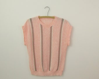 On Sale Vintage 1970s Pink & Taupe Waffle Knit Sweater w/ Short Sleeves - Small Medium