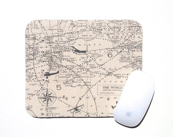 World Map Mouse Pad / Navy Blue and Natural Cream / Home Office Decor / Airplane Military Plane