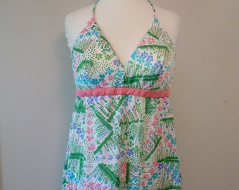 60's Halter Top Neon Flower Power Botanical Print Nylon Short Nightie Shirt Lingerie S