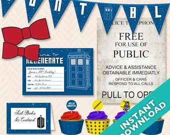 DIY Deluxe Printable Doctor Who Party Set ... Use again and again for every event!