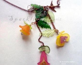 Spring Floral Lariat Necklace