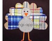 Stick Leg Turkey Applique Design - BEAN (raggy) - 4 Sizes - INSTANT DOWNLOAD