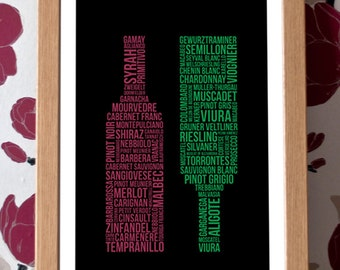 Wine Poster – Red and White Wine Grape Varieties – A3 Typography Art Print
