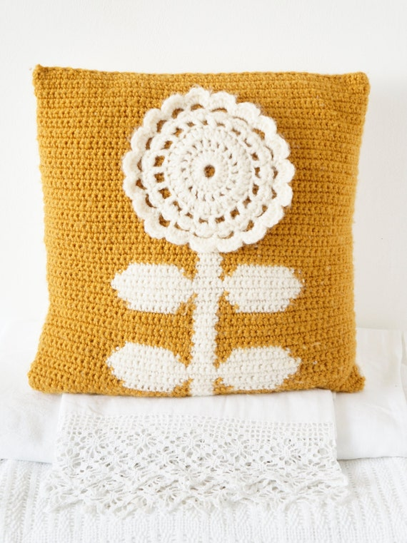 "Crochet Cushion Pattern Pilow Flower PDF 14""x14"" Pillow Mustard Scandinavian Nordic Retro"
