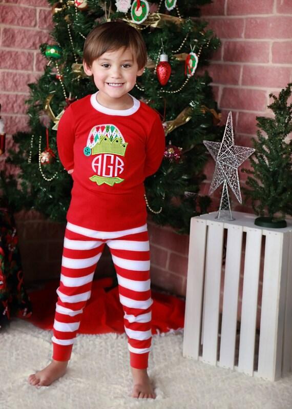 Jester Christmas Pjs - Jester Pajamas - Boy Pajamas- Red/White Striped Pajamas - Christmas Pajamas