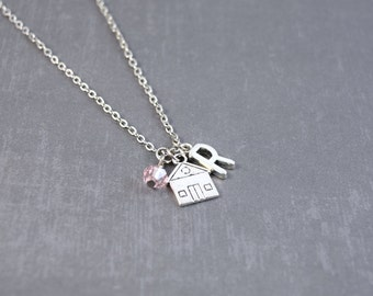 SALE Silver House Necklace, Home Sweet Home Personalized, Home Jewelry, Personalized Initial Jewelry, Home Necklace, Personalized Birthstone