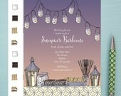Invitations, Digital File, 24 hour turn around time, S'mores, S'more bar, S'more Pattern, Elegant, Fun, Garden Party, BBQ Invite