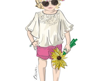 Children's Fashion Illustration Print featuring a little boho girl