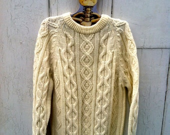 80's Cream Fisherman's Cable Knit Jumper Sweater Acrylic Cruelty Free