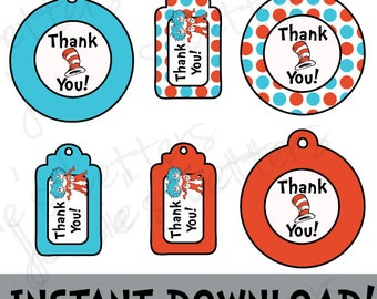 Dr. Suess Favor Tags - INSTANT DOWNLOAD