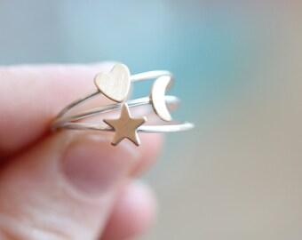 Silver & Brass Petite Ring - Single Ring