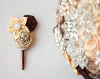 boutonniere for chocolate brooch bouquet