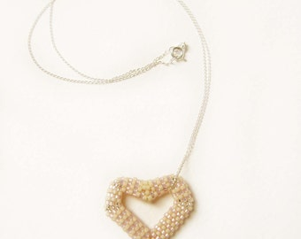 Beaded Heart Pendant Necklace, Seed Bead Heart Necklace, Pink and Cream, Sterling Silver Chain, UK Seller