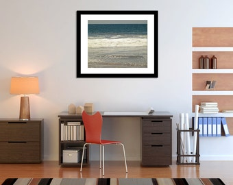 Water Photography, Ocean Wall Art, Oversized Print, Office Wall Decor, Blue and White Photograph, Sea Photo