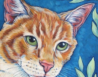 "9"" x 12"" Custom Illustrative Pet Portrait Painting in Acrylic Paint on Canvas of One Dog, Cat,  Animal. Ready to hang with sides painted"