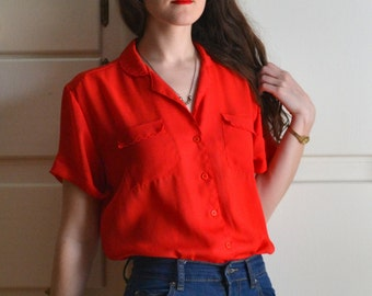 Red 70's Sheer Blouse / Scalloped Polyester