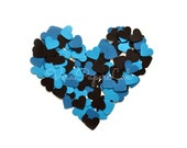 Hearts punches in black, blue and turquoise confetti - choose the quantity