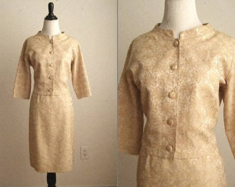 Vintage 1960's Golden Champagne 2 Piece Suit Dress by Jane Hunter