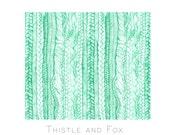 Braided Mint Green Plaited Printed Fabric Yardage