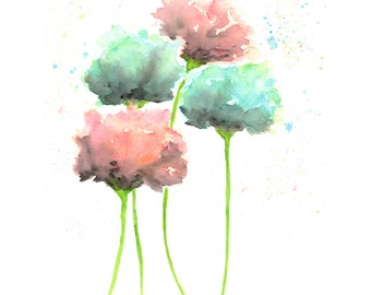 Country cottage decor, watercolor flowers art, watercolor poppies, flower art, flower painting, mint green, coral, flower print - 8X10