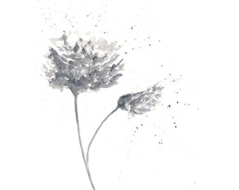 flower painting, watercolor painting, watercolor flowers, flower print, monochromatic art, flower art, abstract flowers, floral, 5X7 print