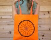 WOW SALE Neon Orange Tote Bag with bike wheel